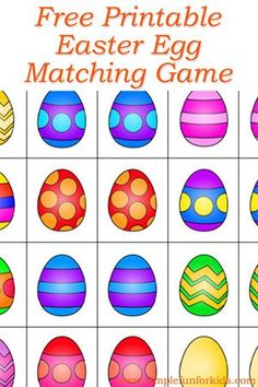 Easter Egg Memory Game - Simple Fun for Kids : Free printable Easter egg matching game - play matching or memory games at any skill level! Free printable Easter egg matching game - play matching or memory games at any skill level! Easter Activities For Preschool, April Preschool, Easter Games, Spring Activities, Easter Crafts For Kids, Easter Ideas, Preschool Classroom, Easter Art, Easter Eggs