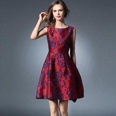 Red Floral Dress Midi Dress