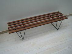 Vintage retro Danish teak bench 50s 60s chair Knoll Robin Day Ernest Race | eBay