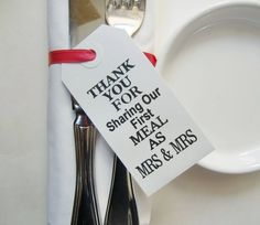 A great addition to your guests' place settings! | Thank You for Sharing Our First Meal as Mrs. and Mrs. | LGBT Wedding | Lesbian Wedding Ideas | Wedding Place Cards | Wedding Tablescape | Wedding Table Tags | Reception Ideas