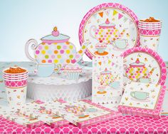 Gather the Gals For High Tea with Eye-Catching Tea Party Supplies A pink tea pot with multicolored polka dots will grab your attention atop tableware and accessories from the Tea Cup party theme. Select offerings also include images of a blue cup and pink saucer aside a scrumptious cupcake all atop a crisp white backdrop with lively floral accents. Border designs in bright pink make these lady-like tea party supplies perfect for garden parties, bridal showers, birthdays, and more. The cup…