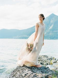 Gown: ELFENKLEID - Bavarian Mountain Inspiration Shoot by Birgit Hart + Vanessa Ernst (Photography assistant) - via Magnolia Rouge