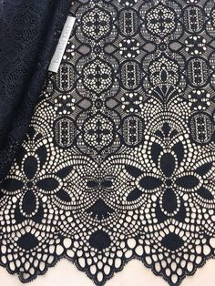 Black Lace Fabric, French Lace, Embroidered lace, Wedding Lace, Bridal lace, Veil lace, Lingerie Lace Chantilly Lace Article: M00119 Width: 140 cm(58 inches) Colors: Black Lace edge: One sides scalloped If you need a different amount, please contact us. Symmetrical embroidery floral