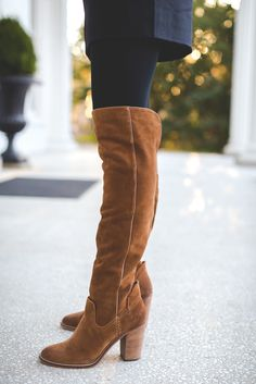 over the knee boots, dolce vita over the knee boots, holiday look, holiday outfits, red tory burch robinson tote, red tory burch purse, christmas wreath, tie neck blouse, plaid sweater, kendra scott double ring, christmas look, holiday outfit ideas, holiday party look // grace wainwright from a southern drawl