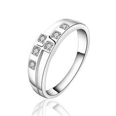 Высокое качество посеребренные и штампованные 925 ювелирных изделий шесть квадратных точка тег кристаллический камень широкое кольцо для девочек свадебные украшения