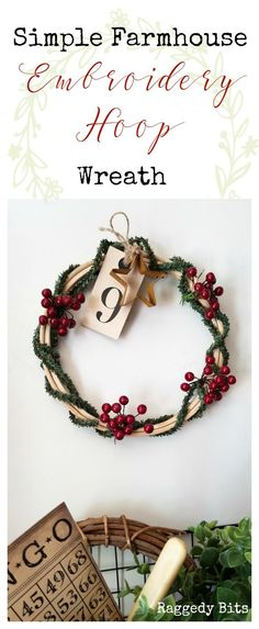 Make a Simple Farmhouse Embroidery Hoop Wreath using Pine Stems and Christmas Berries | http://www.raggedy-bits.com