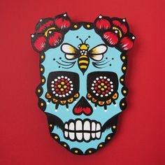 Dia de los Muertos Sugar Skull Wall Hanging  by illustratedink
