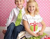 Matching Christmas Outfits- Boy's Necktie and Girl's 3 Layer Ruffle Skirt with Matching Applique Shirt