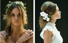 Wedding hair with flowers for a rustic wedding