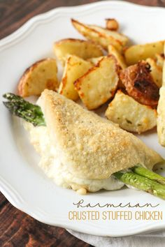 Delicious Baked Parmesan Crusted Chicken stuffed with Cheese and Asparagus { lilluna.com }