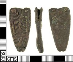 LON-B3CD21: An Early Medieval (late Anglo Saxon) copper alloy strap end dating to the 9th century