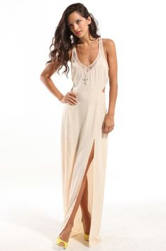 Lace Contrast Open Back Maxi Dress in Cream