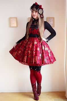 Image result for red lolita fashion