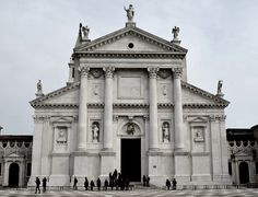 HIGH RENAISSANCE ARCHITECTURE, North Italy; Facade of San Giorgio Maggiore, Venice, begun 1566, by Palladio. # The central temple front is articulated with four three-quarter Composite columns raised on high pedestals, which frame the central door. In the back plane, the lower body of the church is articulated by a smaller order of pilasters, supporting two lower, half pediments on either side. The cornice line continues through the central body, interlocking the two forms.# Neoclassical Architecture, Renaissance Architecture, Historical Architecture, Renaissance Furniture, Giorgio Vasari, Andrea Palladio, Gothic Buildings, High Renaissance, The Cloisters