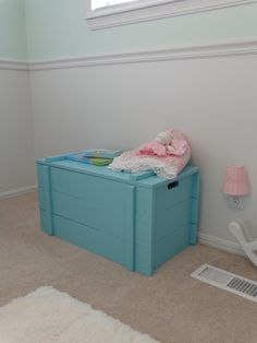 This is actually Josh's old wooden toy chest that we painted to match the dresser. Music Studio Decor, Wooden Toy Chest, Nursery Toys, Old Trunks, Painted Chest, Wood Toys, Toy Boxes, Baby Decor, Kids Room