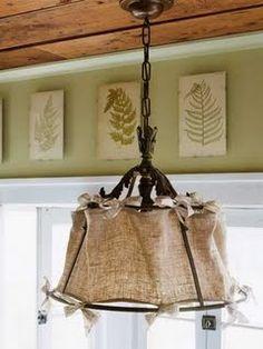 burlap chandelier.