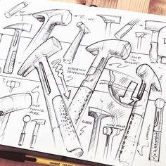 Hammer time.   #Repost @nickpbaker  ・・・  hammer ideas for this week's @weeklydesignchallenge  .  .  .  .  .  #doodles #sketch #sketches #design #drawing #draw #sketchbook #ballpoint #monami #moleskine #industrialdesign #productdesign #hammer #tools #leather #metal #weeklydesignchallenge #product #practice #blackandwhite #concept #perspective #penandink