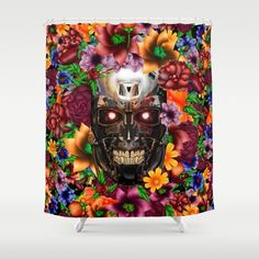 Sugar Chrome skull terminator face SHOWER CURTAIN #showercurtain #shower #painting #digital #ink #watercolor #popart #comic #pattern #dayofthedead #sugarskull #diadelosmuertos #flower #rose #daisy #terminator #robot #cyborg #sciencefiction