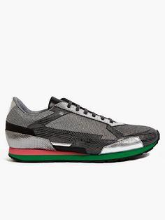 Raf Simons / Sterling Ruby Men's Metallic Leather Sneakers | oki-ni