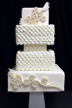 Elegant White Quilling Wedding Cake