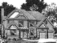 Home Plans HOMEPW12789 - 2,499 Square Feet, 4 Bedroom 2 Bathroom Tudor Home with 2 Garage Bays