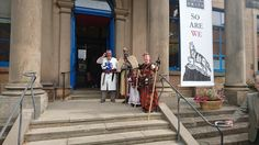 King Robert the Bruce (Strathleven Artizans) ready to welcome all to the exhibition opening
