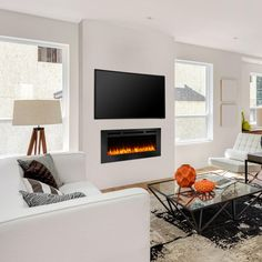 Simplifire by Hearth and Home Technologies SimpliFire Allusion Wall Mount Electric Fireplace - Fireplace Feature Wall, Wall Mounted Fireplace, Linear Fireplace, Wall Mount Electric Fireplace, Shiplap Fireplace, Bedroom Fireplace, Home Fireplace, Fireplace Remodel, Living Room With Fireplace