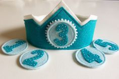 Felt Birthday Crown with Interchangeable Numbers - Blue Teal Boy's Adjustable Wool. $20.00, via Etsy.