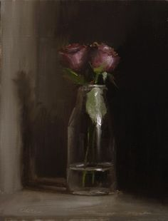 "Daily Paintworks - ""Bottle of Roses"" - Original Fine Art for Sale - © Neil Carroll"