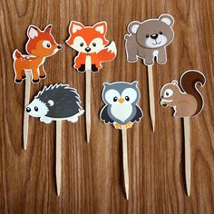 Woodland Creatures Cupcake Toppers Set of 12. $6.00, via Etsy.