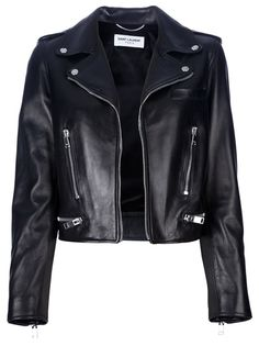 SAINT LAURENT classic leather motorcycle jacket and other apparel, accessories and trends. Browse and shop related looks. Black Biker Jacket, Cropped Leather Jacket, Studded Jacket, Lambskin Leather Jacket, Moto Jacket, Designer Leather Jackets, Looks Chic, Motorcycle Outfit, Ideias Fashion