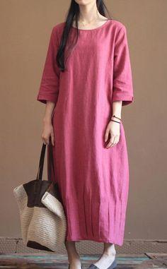 Pink New linen dress summer maxi dresses long sleeve spring caftan dress