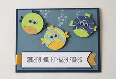 Boy's Birthday Card, Handmade Card, Kid's Birthday, Birthday Card for Boy, Stamped Card, Fish, Ocean, Navy Blue, Lime Green, Greeting Card by BeyondTheReam on Etsy