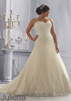 wedding dress from Julietta by Mori Lee Dress Style 3167 Elegant Alencon Lace on a Tulle Wedding Gown with Wide Hemline