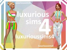 STRIPED UP outfits at NEW Luxurious Sims 4 • Sims 4 Updates