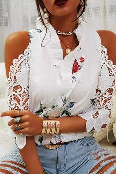 Sexy Off Shoulder Hollow Out Embroidery Shirt Blouses Summer Elegant Ruffle V Neck Tops Pullover Women Autumn 3/4 Sleeve Blusas Half Sleeve Shirts, Half Sleeves, Shirt Sleeves, Chic Type, Shirt Embroidery, Batwing Sleeve, Blouse Styles, V Neck Tops, Printed Shirts