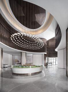 建E室内设计网 Lobby Interior, Luxury Interior, Interior Architecture, Commercial Interior Design, Commercial Interiors, Shanghai, Hotel Lobby Design, Sales Center, Restaurant Lighting