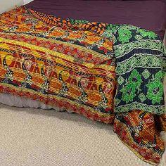 Kantha Tablecloth - Vintage Beach Throw Blanket 12 Beach Blanket, Kantha Quilt, Vintage Quilts, Cotton Quilts, Vintage Cotton, Hand Stitching, Embroidery Stitches, Beach Towel, Needlepoint Stitches