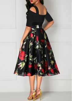 Rose Print Tie Waist Half Sleeve Cold Shoulder Dress in 2020 Grad Dresses, Sexy Dresses, Beautiful Dresses, Nice Dresses, Fashion Dresses, High Tea Dress, Dress Up, Prom Dress, Lehnga Dress