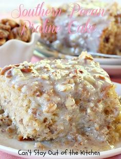 Southern Pecan Praline Cake is one awesome cake. A Butter Pecan Cake Mix is mixed with a tub of Coconut Pecan Frosting and more pecans. Then a spectacular Butter Pecan Glaze is drizzled over the top. Pecan Praline Cake, Butter Pecan Cake, Coconut Pecan Frosting, Pecan Pralines, Southern Praline Cake, Peanut Butter, Butter Pecan Cheesecake Recipe, Pecan Pies, Betty Crocker Pecan Pie Recipe
