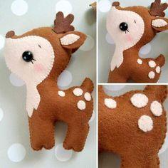 Felt Ornaments Patterns, Felt Crafts Patterns, Felt Crafts Diy, Fabric Crafts, Felt Christmas Ornaments, Christmas Crafts, Diy For Kids, Crafts For Kids, Deer Ornament