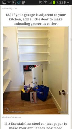 Make unloading groceries easier by building a trap door to the garage - 37 Home Improvement Ideas to Make Your Living Space Even More Awesome Small Doors, Diy Casa, Parade Of Homes, Home Hacks, Simple House, Simple Living, Home Organization, Organizing Life, My Dream Home