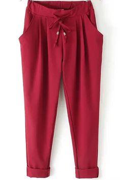 Red Elastic Drawstring Waist Pockets Pant | $16