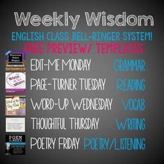 FREE preview version of my English Class bell-ringer system, including templates of student logs!