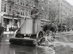 A two-horse street cleaner, NYC, 1905.