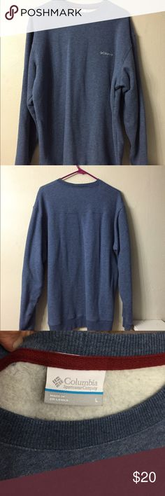 Columbia Sweatshirt Warm fleece lined Columbia sweatshirt.  Hard to tell the real color in the picture but it's blue - similar to a denim blue.  Size large. Columbia Tops Sweatshirts & Hoodies