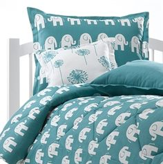 Picture of Turquoise Elephant Bedding with Matching Pillow Sham
