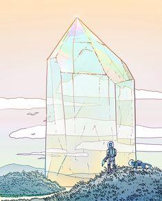 Giant Crystal 2 Art Print by Phazed - X-Small Crystal Drawing, Environment Concept Art, Fantasy Landscape, Environmental Art, Illustrations, Cool Cartoons, Art Plastique, Pretty Art, Erotic Art