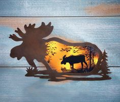 Lighted Silhouette Wildlife Moose At Sunset Metal Wall Art Rustic Lodge Home NEW #Lodge