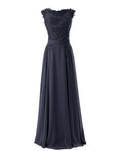 Diyouth Long Bridesmaid Chiffon Prom Dresses Scoop Evening Gowns with Appliques at Amazon Women's Clothing store: